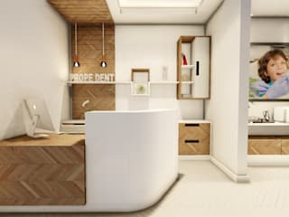 Recepção convidativa: Espaços comerciais  por Vortice Arquitetura