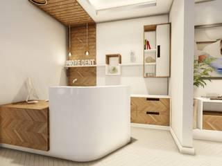 Acabamento amadeirado : Espaços comerciais  por Vortice Arquitetura