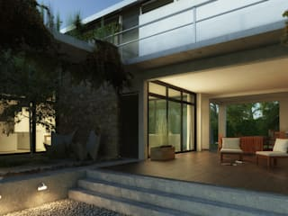 Acceso desde el patio interior : Casas ecológicas de estilo  por Rr+a  bureau de arquitectos
