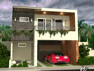 Fachada Resiencia: Casas de estilo  por Eduardo Zamora arquitectos,