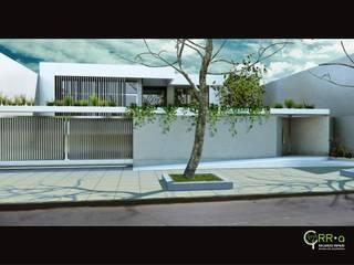 Fachada acceso   : Casas unifamiliares de estilo  por Rr+a  bureau de arquitectos