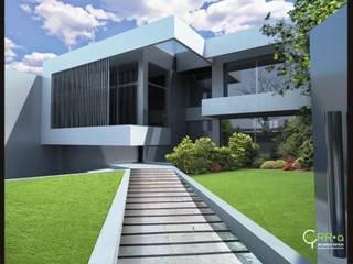 Patio de acceso principal desde la calle: Casas de estilo  por Rr+a  bureau de arquitectos