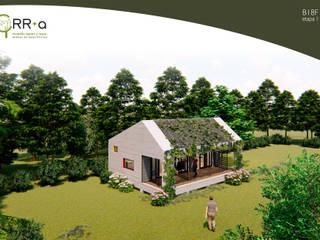 Casa pensada en etapas.  1° etapa 60 m2: Casas prefabricadas de estilo  por Rr+a  bureau de arquitectos