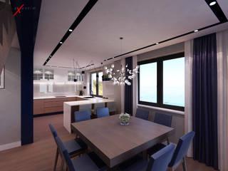 Dom jednorodzinny z antresolą: styl , w kategorii Jadalnia zaprojektowany przez Axentim