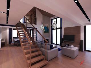 Dom jednorodzinny z antresolą: styl , w kategorii Salon zaprojektowany przez Axentim