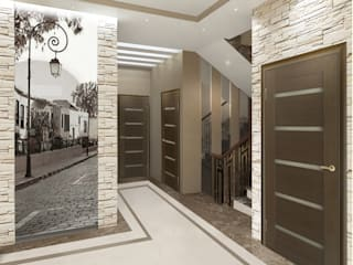 Частный дом в стиле контемпорари: Коридор и прихожая в . Автор – PolyArt Design,