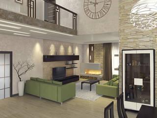 Частный дом в стиле контемпорари: Гостиная в . Автор – PolyArt Design