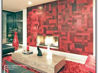 Chimenea revestida en Cuero Salas modernas de Cueros Arquitectónicos Moderno