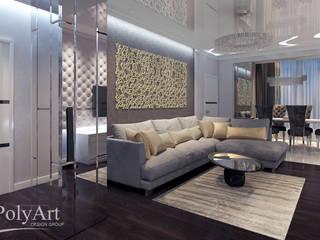 Оттенки платины.3-х комнатная квартира в ЖК Центральный.: Гостиная в . Автор – PolyArt Design