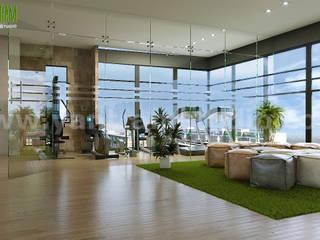 Gimnasios en casa de estilo moderno por Yantram Architectural Design Studio