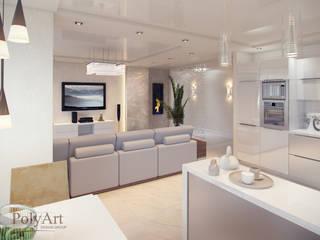 Городская мелодия. 3-х комнатная квартира в ЖК Европейский: Гостиная в . Автор – PolyArt Design,