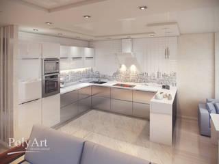 Городская мелодия. 3-х комнатная квартира в ЖК Европейский: Кухни в . Автор – PolyArt Design,