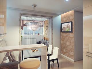 Апартаменты для летнего отдыха. 3-х комнатная квартира ЮМР: Кухни в . Автор – PolyArt Design,