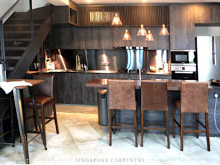 Cozinhas industriais por Singapore Carpentry Interior Design Pte Ltd Industrial