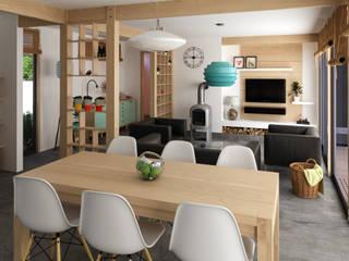 living+comedor:  de estilo  por RHA Arquitectura + Construcción