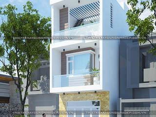 Mẫu nhà 1 trệt 2 lầu đơn giản bởi Công ty cổ phần tư vấn kiến trúc xây dựng Nam Long Châu Á