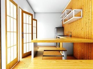 Rumah Putih Amanah r.studio Dapur kecil Kayu Lapis Wood effect