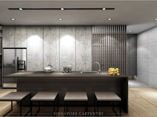 Cozinhas modernas por Singapore Carpentry Interior Design Pte Ltd Moderno