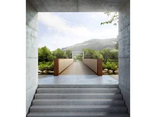 Ticino Bridge in Agno, TI, Switzerland: Terraços  por Natalia Bencheci,Minimalista