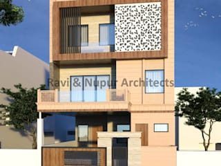 RAVI - NUPUR ARCHITECTS Rumah tinggal Batu Beige