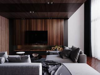 Pingtung City -蔡宅 现代客厅設計點子、靈感 & 圖片 根據 景寓空間設計 現代風