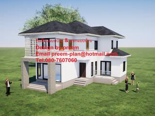 บ้านพักอาศัยคสล. 2 ชั้น:  บ้านเดี่ยว by รับเขียนแบบบ้าน&ออกแบบบ้าน