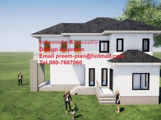 บ้านพักอาศัยคสล. 2 ชั้น:  บ้านสำเร็จรูป by รับเขียนแบบบ้าน&ออกแบบบ้าน