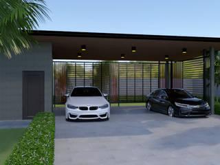 โรงจอดรถแบบจำลอง 3D โดย บริษัท พี นัมเบอร์วัน ดีไซน์ แอนด์ คอนสตรัคชั่น จำกัด โมเดิร์น