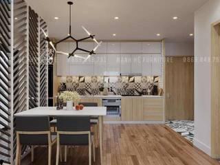 THIẾT KẾ NỘI THẤT CHUNG CƯ 73M2 – ANH TIẾN THỦ DẦU MỘT BÌNH DƯƠNG Phòng ăn phong cách hiện đại bởi Công ty TNHH Nội Thất Mạnh Hệ Hiện đại