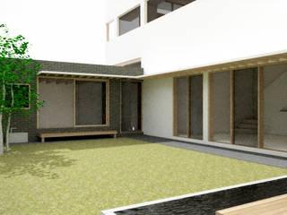 건축사사무소 모뉴멘타 Jardines de estilo moderno Madera Blanco