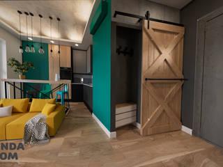 Маленький лофт. Коридор, прихожая и лестница в стиле лофт от дизайн-студия PandaDom Лофт