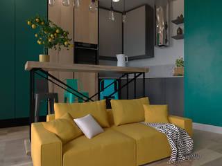 Маленький лофт.: Гостиная в . Автор – дизайн-студия PandaDom