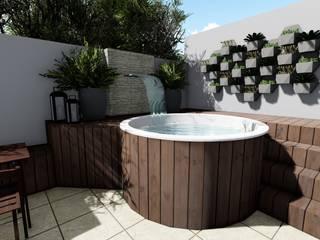 Cláudia Legonde 按摩浴缸 木頭 White