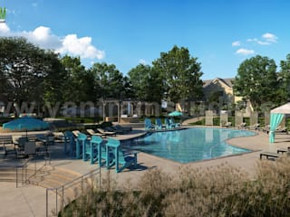 Modern Architectural Pool view Rendering Developed By Yantram Architectural Design Studio, New york-USA Yantram Architectural Design Studio