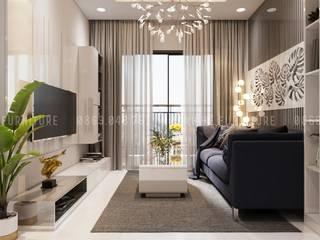 Phòng khách hiện đại, được trang bị đầy đủ đồ trang trí:  Phòng khách by Công ty TNHH Nội Thất Mạnh Hệ