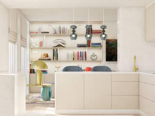Pequeno, grande apartamento Estoril: Cozinhas pequenas  por Inêz Fino Interiors, LDA,Eclético