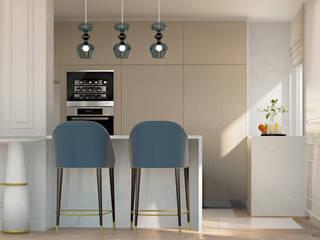 Pequeno, grande apartamento Estoril: Armários de cozinha  por Inêz Fino Interiors, LDA,Eclético