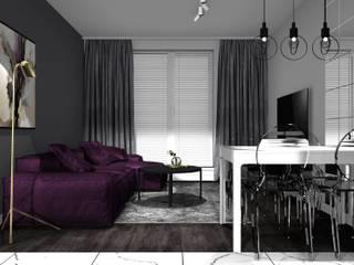 salon z jadalnią: styl , w kategorii Jadalnia zaprojektowany przez 91m2 Architektura Wnętrz