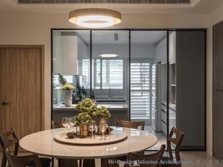新北市五股區九揚萊茵堡電梯住宅:  餐廳 by Hi+Design/Interior.Architecture. 寰邑空間設計