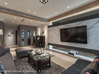 客廳玄關區 现代客厅設計點子、靈感 & 圖片 根據 Hi+Design/Interior.Architecture. 寰邑空間設計 現代風