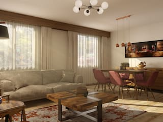 Beylikdüzü Home ( Tasarım + Uygulama ) Emre Bayraktar Endüstriyel Oturma Odası Ahşap Kahverengi