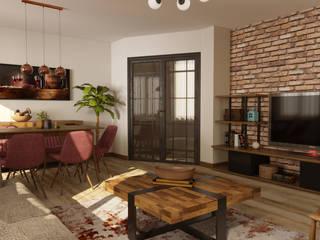 Beylikdüzü Home ( Tasarım + Uygulama ) Emre Bayraktar Endüstriyel Oturma Odası Ahşap Ahşap rengi