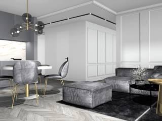 salon z widokiem na jadalnie i korytarz: styl , w kategorii Salon zaprojektowany przez 91m2 Architektura Wnętrz