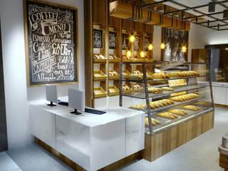 Projeto de arquitetura Comercial Delicatessen Cafeteria - Soft Industrial : Escritórios  por Gelker Ribeiro Arquitetura | Arquiteto Rio de Janeiro