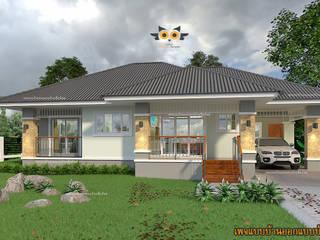 บ้านพักอาศัยชั้นเดียว สไตล์ทรอปิคอล:  บ้านสำหรับครอบครัว by แบบบ้านออกแบบบ้านเชียงใหม่