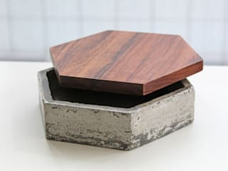 Recipiente hexagonal de concreto :  de estilo  por Kosmic