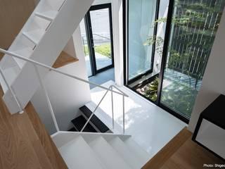 坪庭に面した玄関: 石川淳建築設計事務所が手掛けた階段です。,