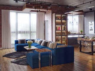 Квартира В ЖК «Лайнер», 171 кв.м.: Гостиная в . Автор – Loft&Home