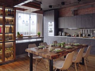 Квартира В ЖК «Лайнер», 171 кв.м.: Кухни в . Автор – Loft&Home