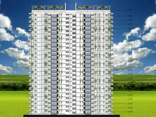fachada posterior : Casas multifamiliares de estilo  por OBS DISEÑO & CONSTRUCCION.
